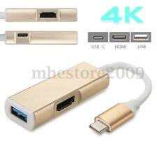 3 in 1 Mini Type C to USB-C Charging 4K HDMI USB 3.0 Adapter Hub For Macbook New