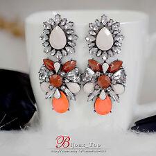 Boucles d`Oreilles Grosse Fleur Orange Goutte Beige Retro Soirée Cadeau AA 1
