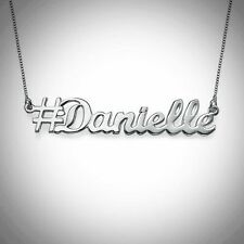"""#Name Necklace Personalized Tiny Hashtag .4"""" Box Chain STERLING SILVER .925"""