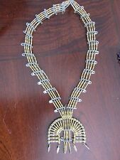 "Navajo Beaded ""Naja Necklace"" MADE OF BEADED SAFETY PINS! unique and unusual"