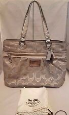 Authentic Coach Poppy Silver Metallic Lurex Signature Glam Tote 15389