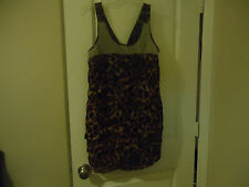 WOW Couture Size L Animal Print Sleeveless Top V-Back Lined Pleated