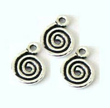 20pc solid 925 Sterling Silver Spiral Swirl Charm Dangle chain end mini pendant