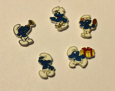 5 SMURF FLOATING LOCKET CHARMS MIX LOT OF DIFFERENT CHARACTERS SMURFS SMURF