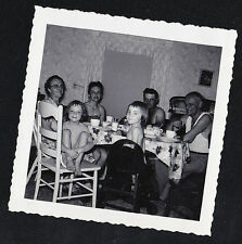 Old Vintage Antique Photograph People Sitting Around Table in Retro Dining Room