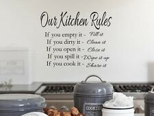 OUR KITCHEN RULES Vinyl Wall Art Decal Decor Lettering Words Quote Sayings