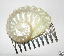 Ivory White Real Sea Shell Hair Comb Mermaid Beach Bridal Silver Boho Cream R67