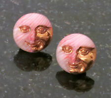 Cosmic Man in the Moon Earrings Pink, Cream and Gold Glass 11/16 Round