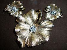 Trifari Leaf Shaped Brooch/Pin & Ear Clips w/Rhinestone Ladybug-Goldtone 1950's