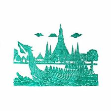 "Thai Temple Rubbing - Green - Royal Barge - 24"" x 24"" -                   2402GR"