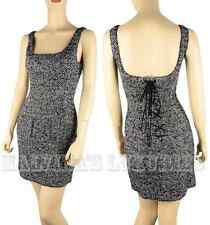 D&G by DOLCE & GABBANA DRESS WOOL SILK TWEED BONED CORSET LACE-UP BACK sz 40