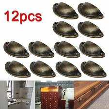 12pcs Retro Kitchen Cupboard Door Cabinet Knob Drawer Shell Pull Handle Bronze