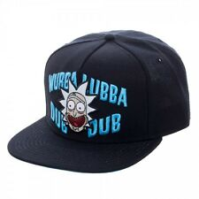 Adult Swim  Licensed Rick and Morty Wubba Lubba Dub Dub Black Snapback Cap Hat