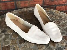 Ladies Enzo Angiolini White Leather Flats Loafers 7.5 N