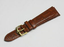 HIRSCH Duke M, Alligator Grain Bracelet Montre en En Or Marron, 20mm, Or Boucle