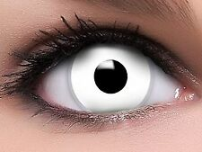 Lentille de Contact Couleur Blanc Zombie / White Out / Halloween / Crazy / 1 an
