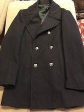 Classic  ENLISTED  VI-Mil Pea Coat USA Navy Black 100% Wool Men's size 38R (JD)