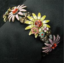 Pilgrim Pulsera Vintage Oro/Rosa/Amarillo Esmalte Swarovski Daisy Flor BNWT