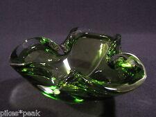 Murano Glas Aschenbecher Glas-Schale dreieckige Form grün farblos überfangen