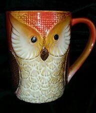 NEW OWL FIGURAL COFFEE TEA MILK Mug Cup D/W Microwave Safe ORANGE BROWN