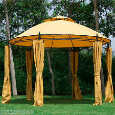 Outsunny Patio Metal Round 2 Tier Roof Gazebo Canopy Sun Shelter Cover Sidewall