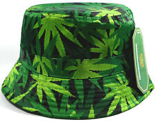 MARIJUANA WEED LEAF SUBLIMATED ALL OVER PRINT BUCKET HAT BOONIE CAP 420 CANNABIS