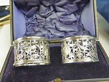 Antique ornate solid silver napkin ring pair  engraved   W & B boxed