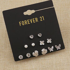 New Forever21 6pairs Flower Heart Small Stud Earrings Gift FS Girl's Jewelry set