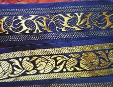 1 3/4 Woven Embroidered Jacquard Ribbon trim black and gold leafs