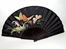 "Antique 18th Century Hand-Painted Fan of Cupid and ButterFlies - 16"" x 30"""