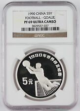 China 1990 Football 5 Yuan Silver Proof Coin NGC PF69 UC Goalie #037 GEM