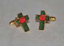 Masonic Rose Croix Gold Plated & Enamel Cufflinks (CF035)