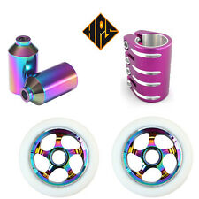 PRO STUNT SCOOTER NEO CHROME NEOCHROME QUAD CLAMP 110MM METAL CORE WHEELS PEGS