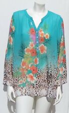 SOFT SURROUNDINGS Turquoise Floral Animal Print Chiffon Shirt Blouse Tunic Top L