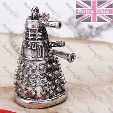 3D DARLEK pendant NECKLACE antique silver fashion quirky DR WHO FAN long chain