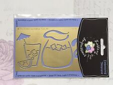 NEW Brass Embossing Stencil - COLD DRINK & JUG - Party  Cardmaking Scrapbooking