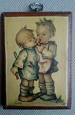 Rare Vintage Hummel Plaque on solid Wood Wall Hanging children sharing candy $$