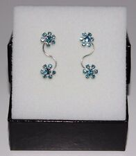 New 925 Sterling Silver Climber Ear Vine Two Blue Flowers Crystal Earrings
