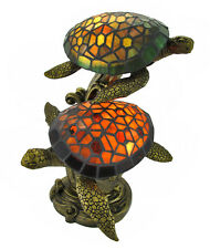 Tiffany Style Swimming Sea Turtles Lamp Amber and Green Glass