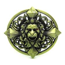 Bronze Gothic Cross Skull Lion Head Belt Buckle Cool Tattoo Celtic Western Style