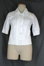 KENNETH COLE $119 Jacket SMALL White Short Sleeve Zip Button Front Pockets