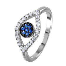 925 STERLING SILVER RING OPEN EVIL EYE W/ SAPPHIRE & ACCENTS/ SZ 5-9/STUNNING!!
