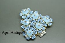 Vintage Stanley Hagler blue flower beaded christmas tree brooch