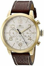 BRAND NEW TOMMY HILFIGER WATCH 1791231 IN GOLDTONE & BROWN LEATHER STRAP