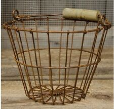New Wire Egg Basket Primitive Country Rusty Chicken Metal Wood Handle Gathering