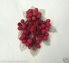 """Early Miriam Haskell 4 1/2""""  RED SUGAR GLASS BERRIES DANGLY PIN BROOCH + LEAVES"""