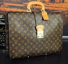 Authentic LOUIS VUITTON LV VTG Doctor Lawyer Leather Briefcase Bag Mens ID Tag