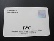 IWC SCHAFFHAUSEN Guarantee Card warranty card