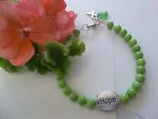 LYMPHOMA / LYME DISEASE AWARENESS GREEN  BEADED HOPE BRACELET W/RIBBON CHARM