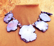 Purple Lavender Howlite Turquoise Stone STATEMENT NECKLACE SLAB Big Gem JEWELRY